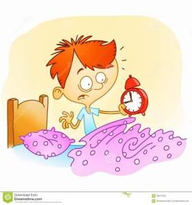 Boy waking up late