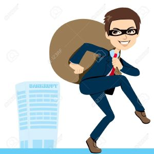 13451918-Thief-Businessman-in-suit-lifting-heavy-bag-full-of-stolen-profits-leaving-bankrupt-company-behind-Stock-Vector
